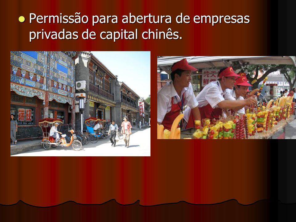 Permissão para abertura de empresas privadas de capital chinês. Permissão para abertura de empresas privadas de capital chinês.