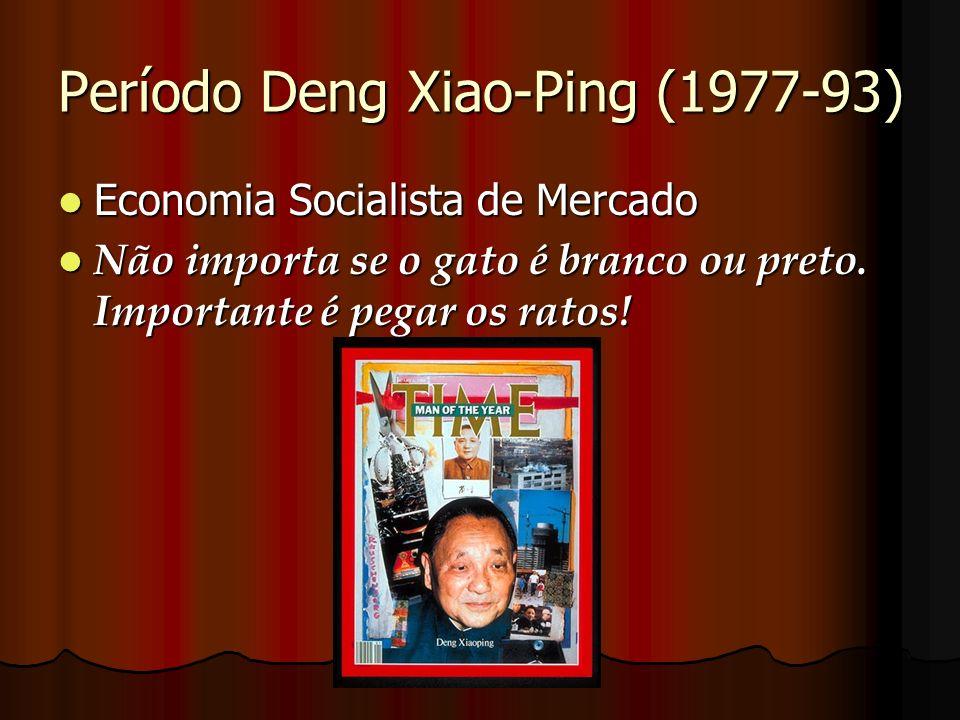 Período Deng Xiao-Ping (1977-93) Economia Socialista de Mercado Economia Socialista de Mercado Não importa se o gato é branco ou preto. Importante é p