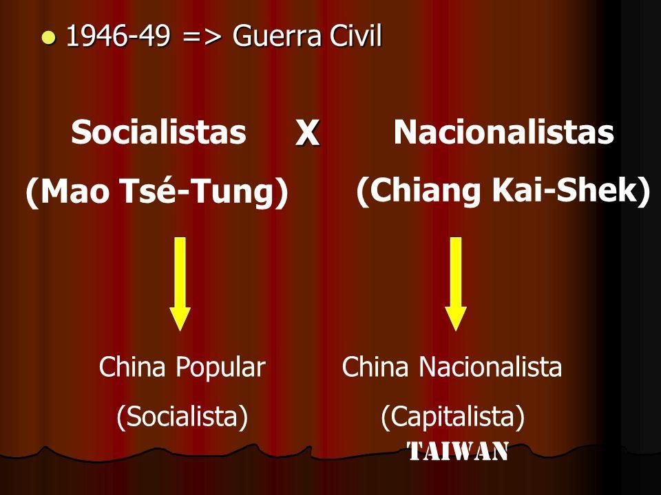 1946-49 => Guerra Civil 1946-49 => Guerra Civil Socialistas (Mao Tsé-Tung) Nacionalistas (Chiang Kai-Shek)X China Popular (Socialista) China Nacionali