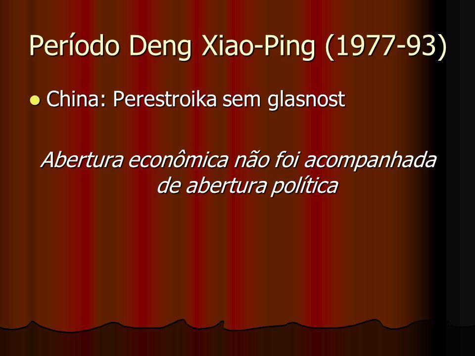 Período Deng Xiao-Ping (1977-93) China: Perestroika sem glasnost China: Perestroika sem glasnost Abertura econômica não foi acompanhada de abertura po