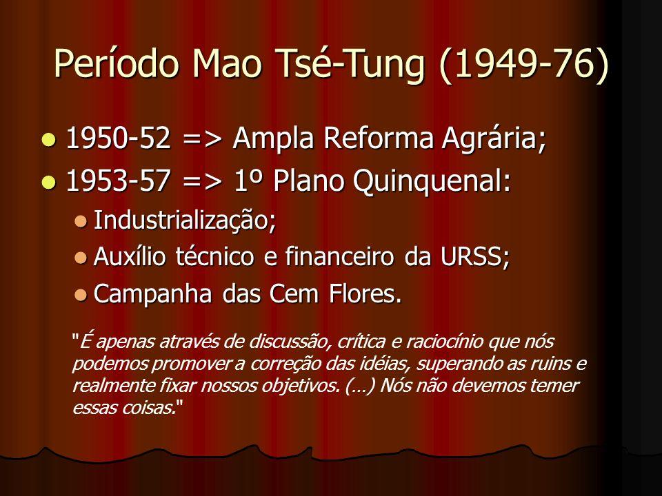 1950-52 => Ampla Reforma Agrária; 1950-52 => Ampla Reforma Agrária; 1953-57 => 1º Plano Quinquenal: 1953-57 => 1º Plano Quinquenal: Industrialização;