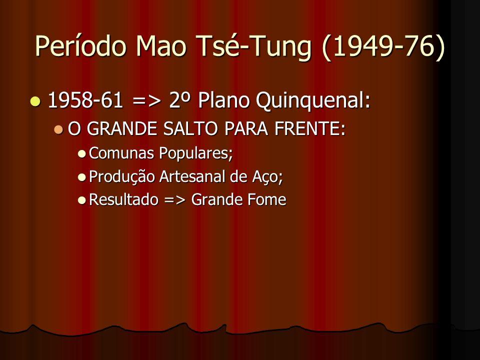 Período Mao Tsé-Tung (1949-76) 1958-61 => 2º Plano Quinquenal: 1958-61 => 2º Plano Quinquenal: O GRANDE SALTO PARA FRENTE: O GRANDE SALTO PARA FRENTE: