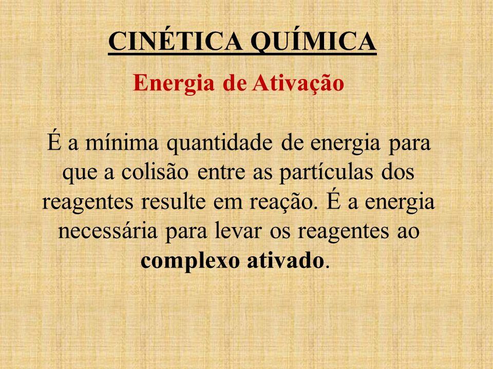CINÉTICA QUÍMICA Energia de Ativação É a mínima quantidade de energia para que a colisão entre as partículas dos reagentes resulte em reação. É a ener