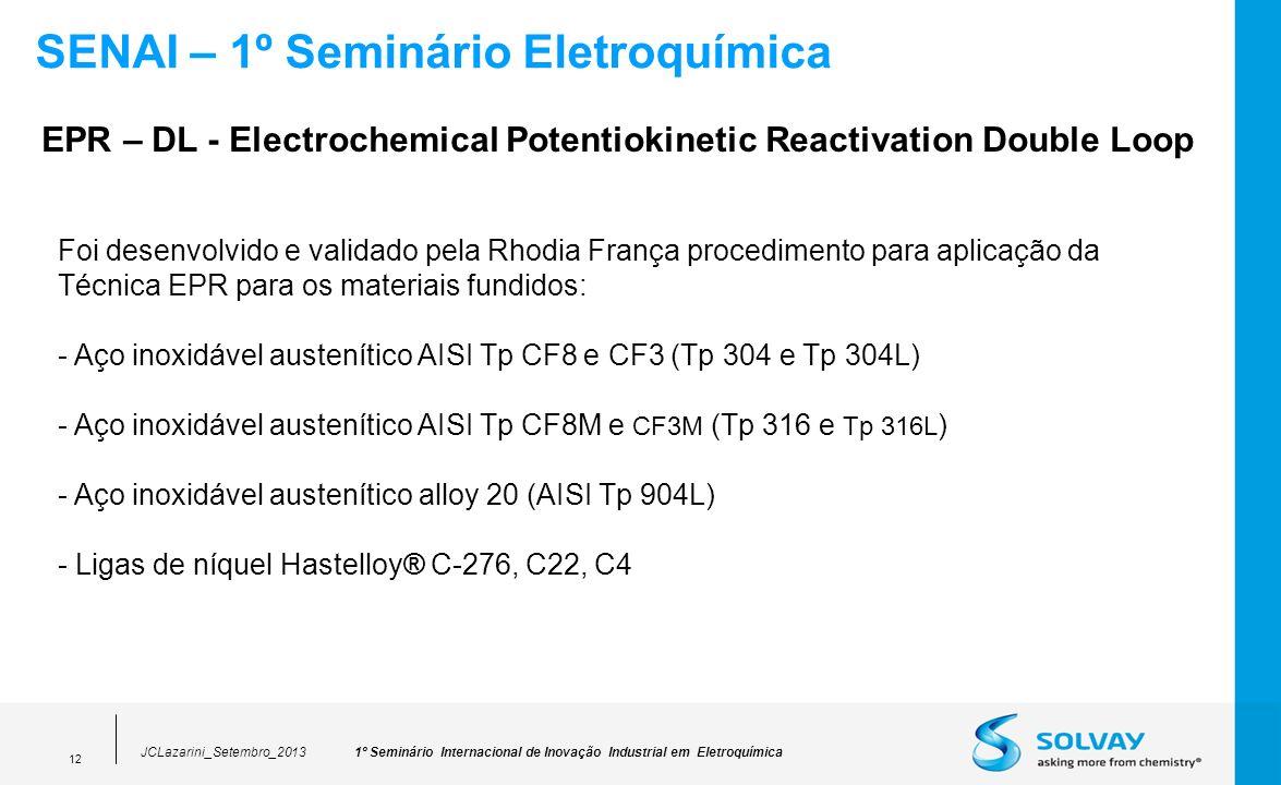 1º Seminário Internacional de Inovação Industrial em EletroquímicaJCLazarini_Setembro_2013 12 SENAI – 1º Seminário Eletroquímica Foi desenvolvido e va
