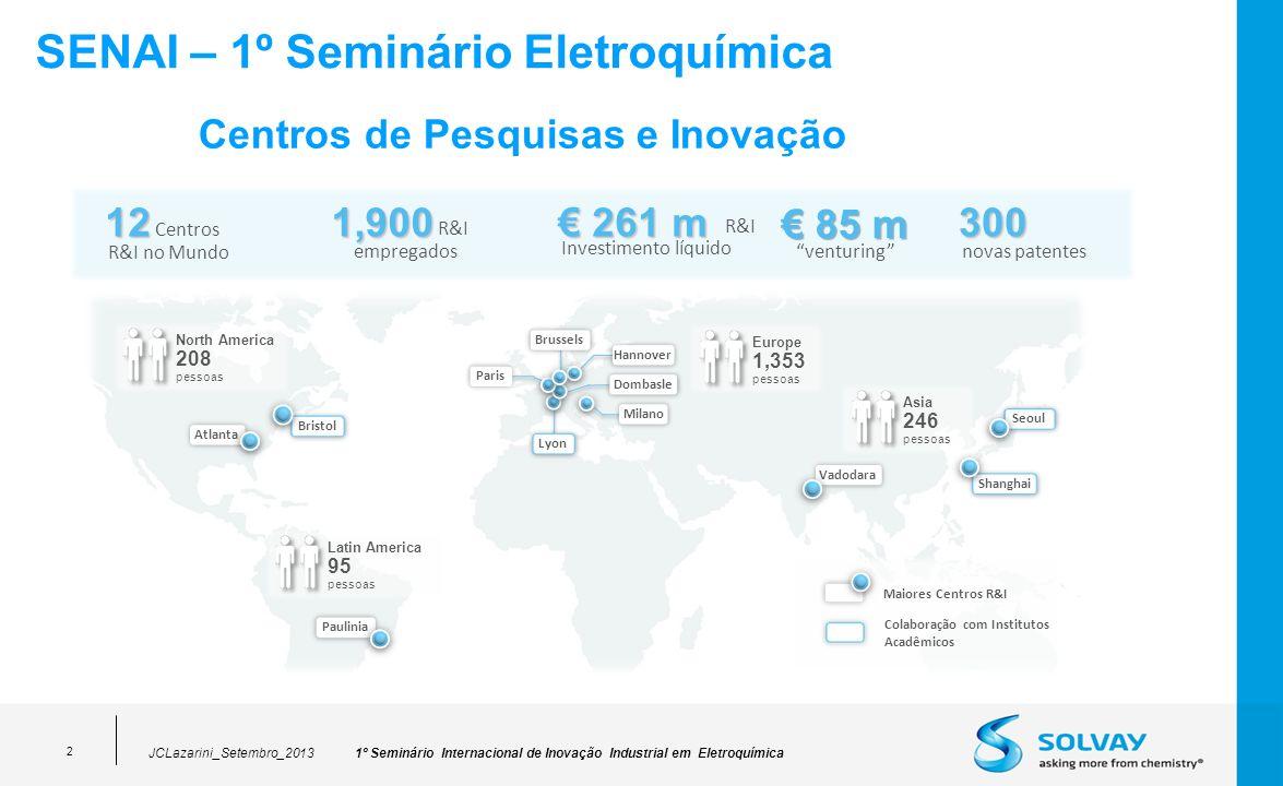 1º Seminário Internacional de Inovação Industrial em Eletroquímica 2 SENAI – 1º Seminário Eletroquímica JCLazarini_Setembro_2013 Centros de Pesquisas