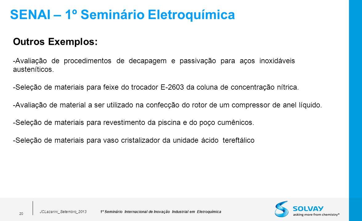 1º Seminário Internacional de Inovação Industrial em EletroquímicaJCLazarini_Setembro_2013 20 SENAI – 1º Seminário Eletroquímica Outros Exemplos: -Ava