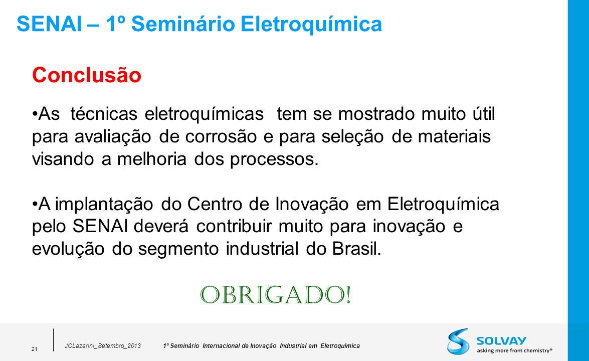 1º Seminário Internacional de Inovação Industrial em EletroquímicaJCLazarini_Setembro_2013 21 SENAI – 1º Seminário Eletroquímica Conclusão As técnicas