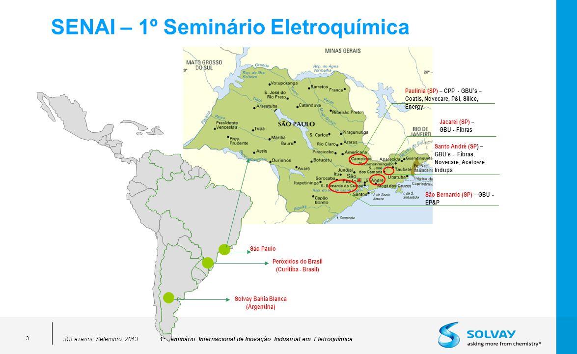 1º Seminário Internacional de Inovação Industrial em EletroquímicaJCLazarini_Setembro_2013 3 SENAI – 1º Seminário Eletroquímica Paulínia (SP) – CPP - GBUs – Coatis, Novecare, P&I, Silice, Energy.
