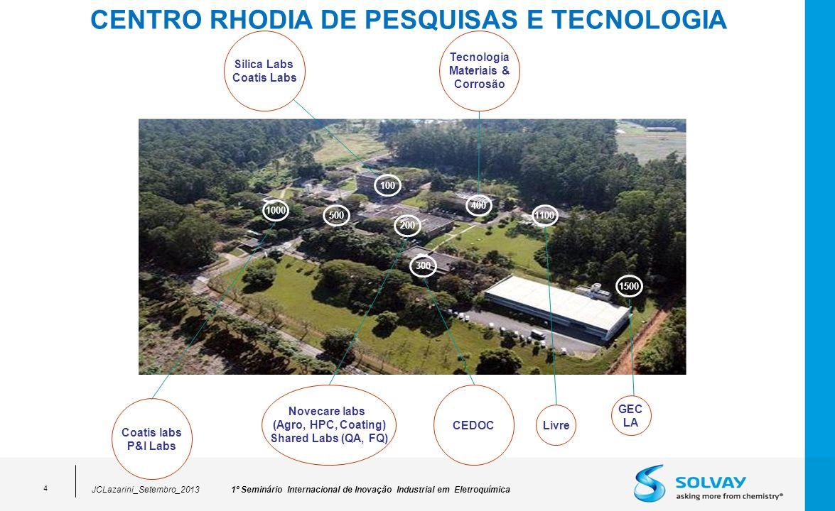 1º Seminário Internacional de Inovação Industrial em EletroquímicaJCLazarini_Setembro_2013 4 CENTRO RHODIA DE PESQUISAS E TECNOLOGIA 1100 400 100 200