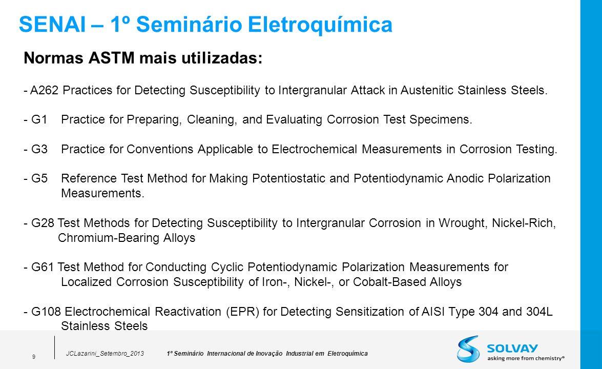 1º Seminário Internacional de Inovação Industrial em EletroquímicaJCLazarini_Setembro_2013 9 SENAI – 1º Seminário Eletroquímica Normas ASTM mais utili