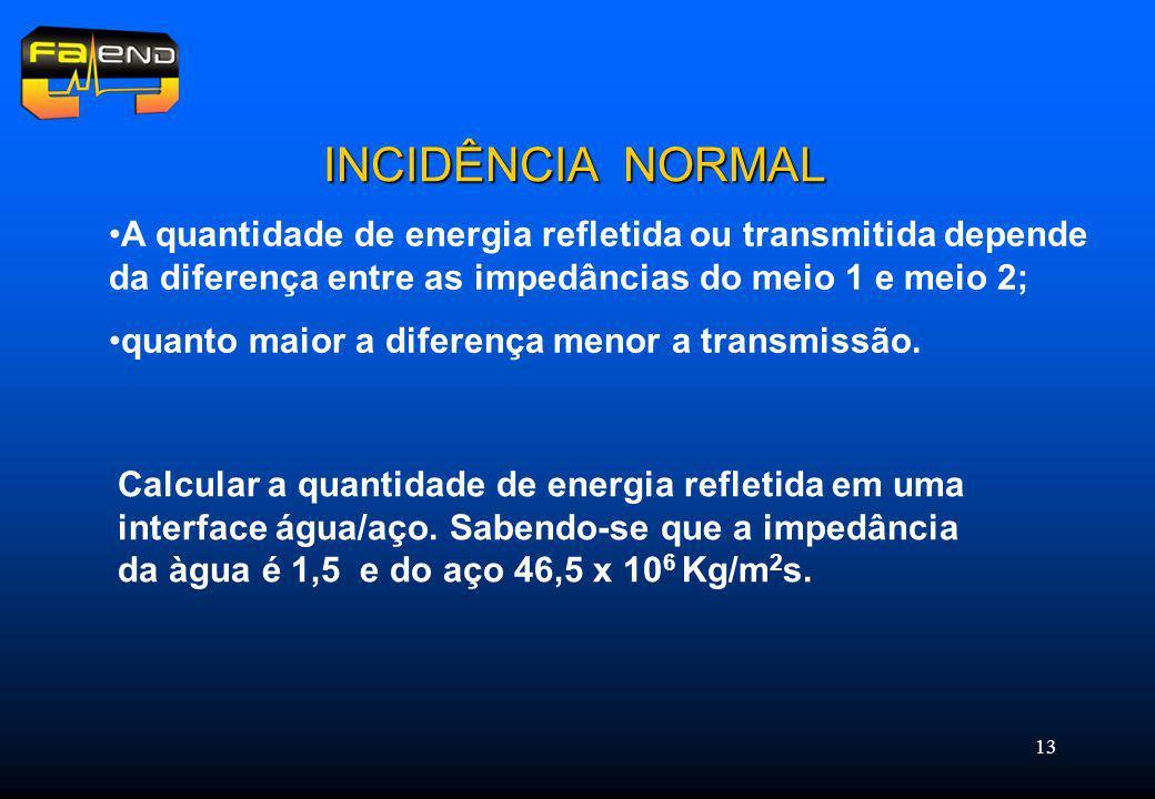 13 INCIDÊNCIA NORMAL A quantidade de energia refletida ou transmitida depende da diferença entre as impedâncias do meio 1 e meio 2; quanto maior a diferença menor a transmissão.