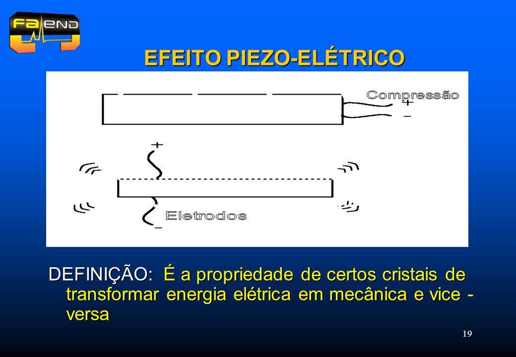 19 EFEITO PIEZO-ELÉTRICO DEFINIÇÃO: É a propriedade de certos cristais de transformar energia elétrica em mecânica e vice - versa