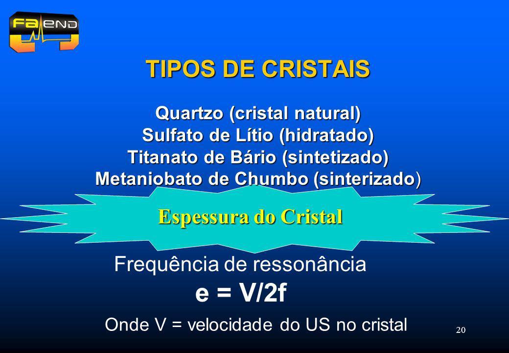 20 Espessura do Cristal TIPOS DE CRISTAIS Quartzo (cristal natural) Sulfato de Lítio (hidratado) Titanato de Bário (sintetizado) Metaniobato de Chumbo (sinterizado) Frequência de ressonância e = V/2f Onde V = velocidade do US no cristal