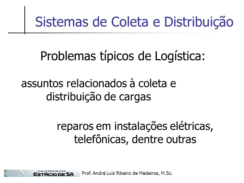 Prof. André Luis Ribeiro de Medeiros, M.Sc. Sistemas de Coleta e Distribuição Problemas típicos de Logística: assuntos relacionados à coleta e distrib