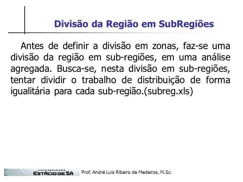 Prof. André Luis Ribeiro de Medeiros, M.Sc. Divisão da Região em SubRegiões Antes de definir a divisão em zonas, faz-se uma divisão da região em sub-r
