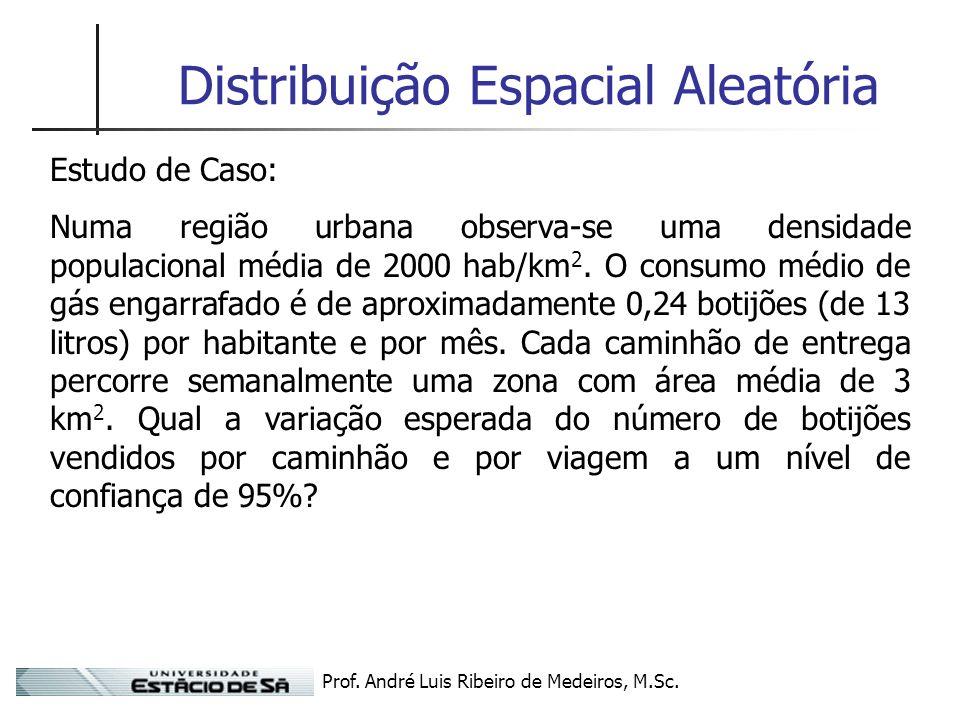 Prof. André Luis Ribeiro de Medeiros, M.Sc. Distribuição Espacial Aleatória Estudo de Caso: Numa região urbana observa-se uma densidade populacional m
