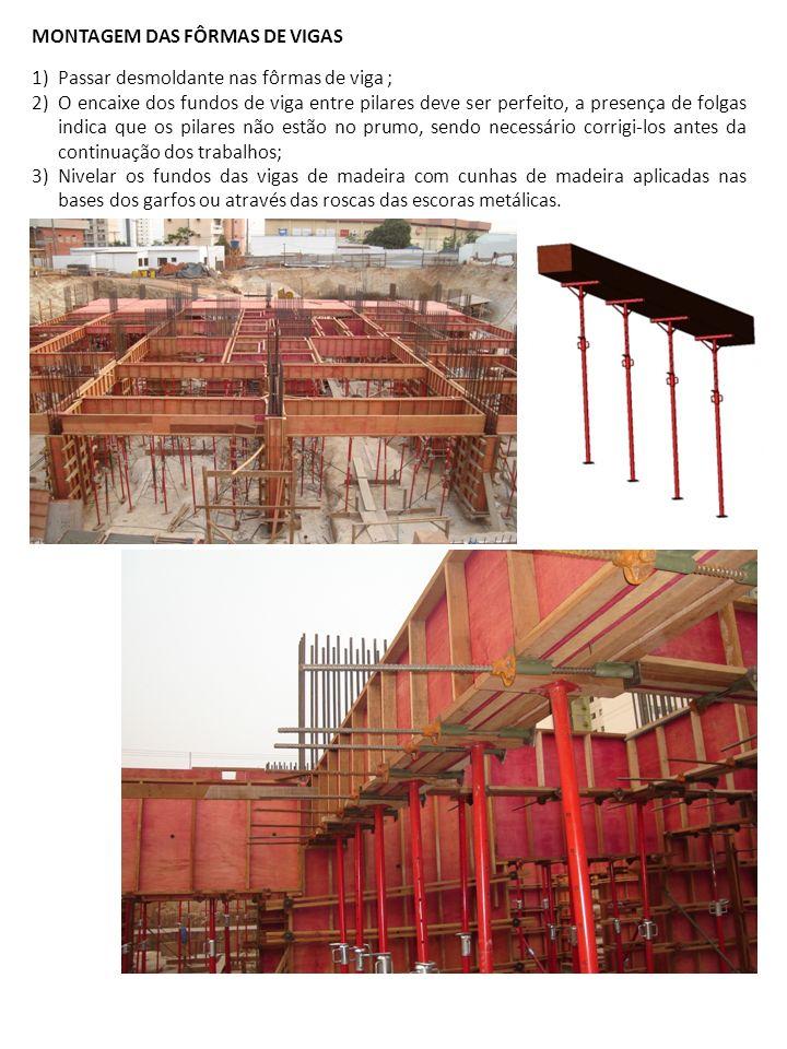 1)Passar desmoldante nas fôrmas de viga ; 2)O encaixe dos fundos de viga entre pilares deve ser perfeito, a presença de folgas indica que os pilares n