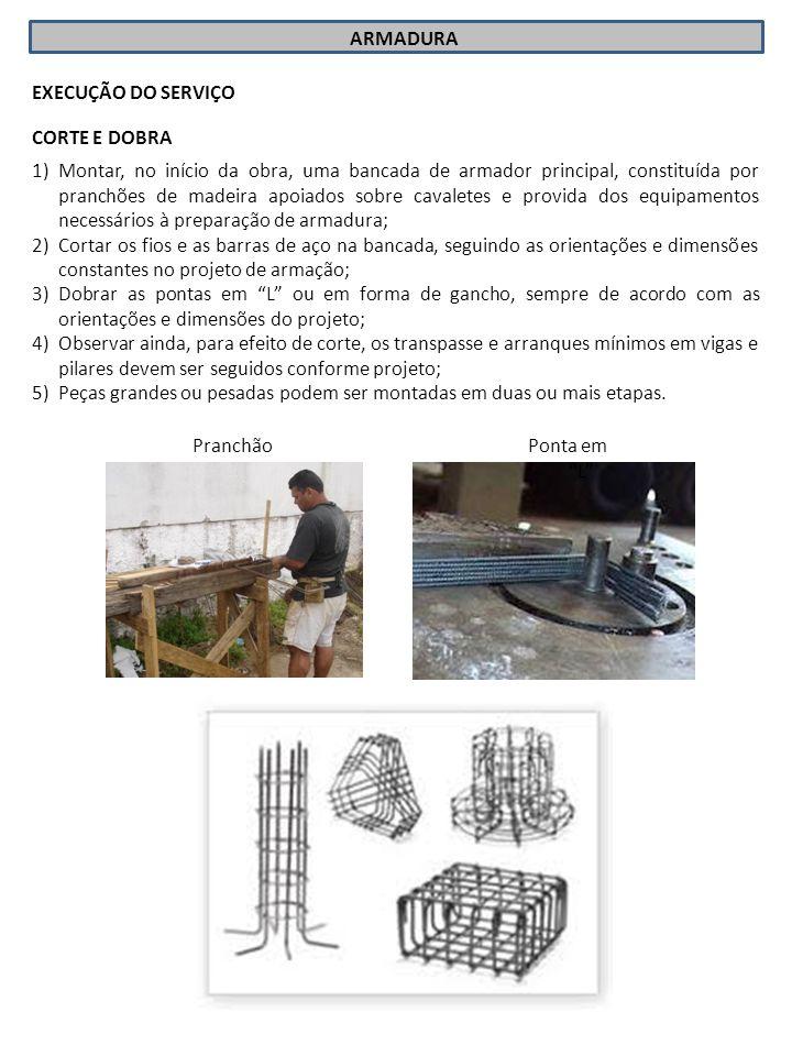 ARMADURA EXECUÇÃO DO SERVIÇO 1)Montar, no início da obra, uma bancada de armador principal, constituída por pranchões de madeira apoiados sobre cavale