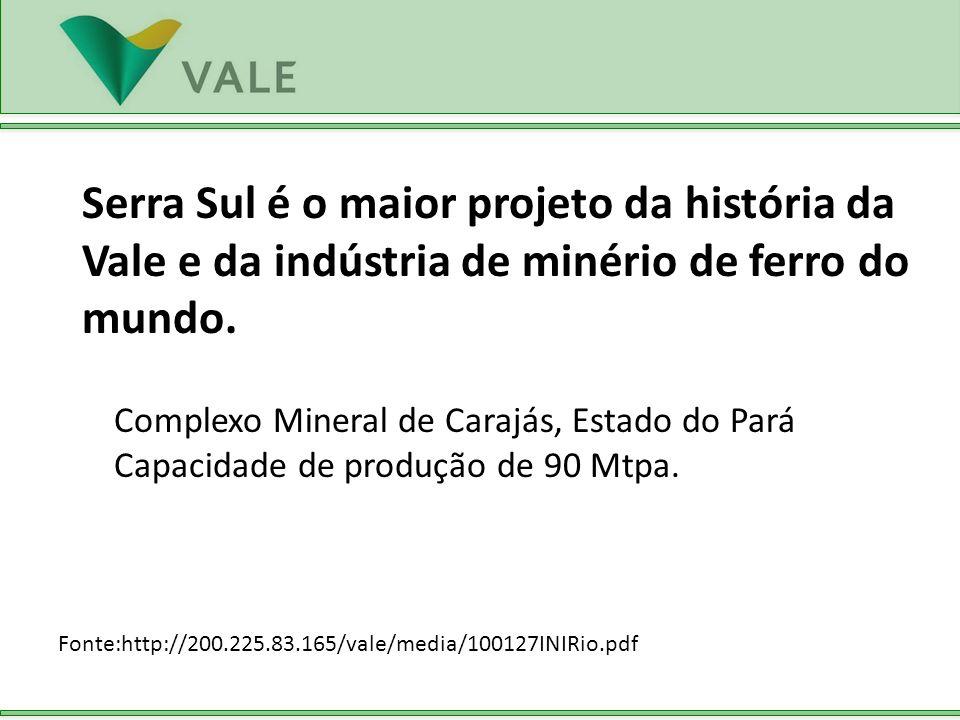 Serra Sul é o maior projeto da história da Vale e da indústria de minério de ferro do mundo. Fonte:http://200.225.83.165/vale/media/100127INIRio.pdf C