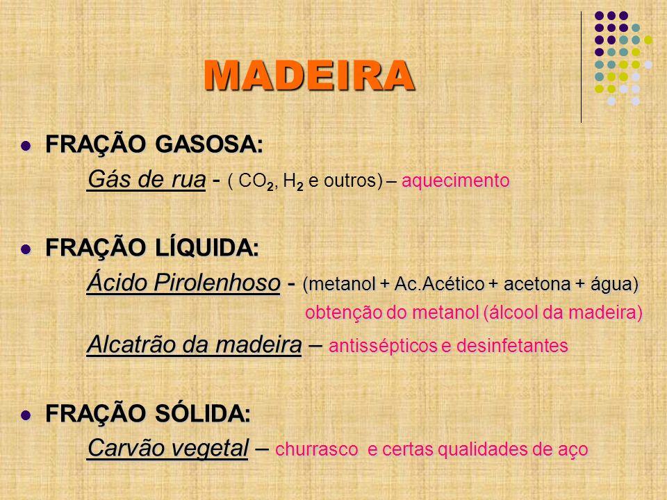 MADEIRA FRAÇÃO GASOSA: FRAÇÃO GASOSA: aquecimento Gás de rua - ( CO 2, H 2 e outros) – aquecimento FRAÇÃO LÍQUIDA: FRAÇÃO LÍQUIDA: Ácido Pirolenhoso -