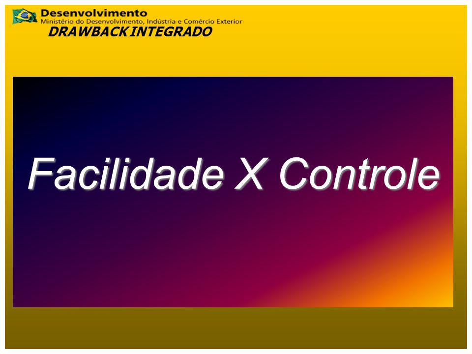 Facilidade X Controle DRAWBACK INTEGRADO