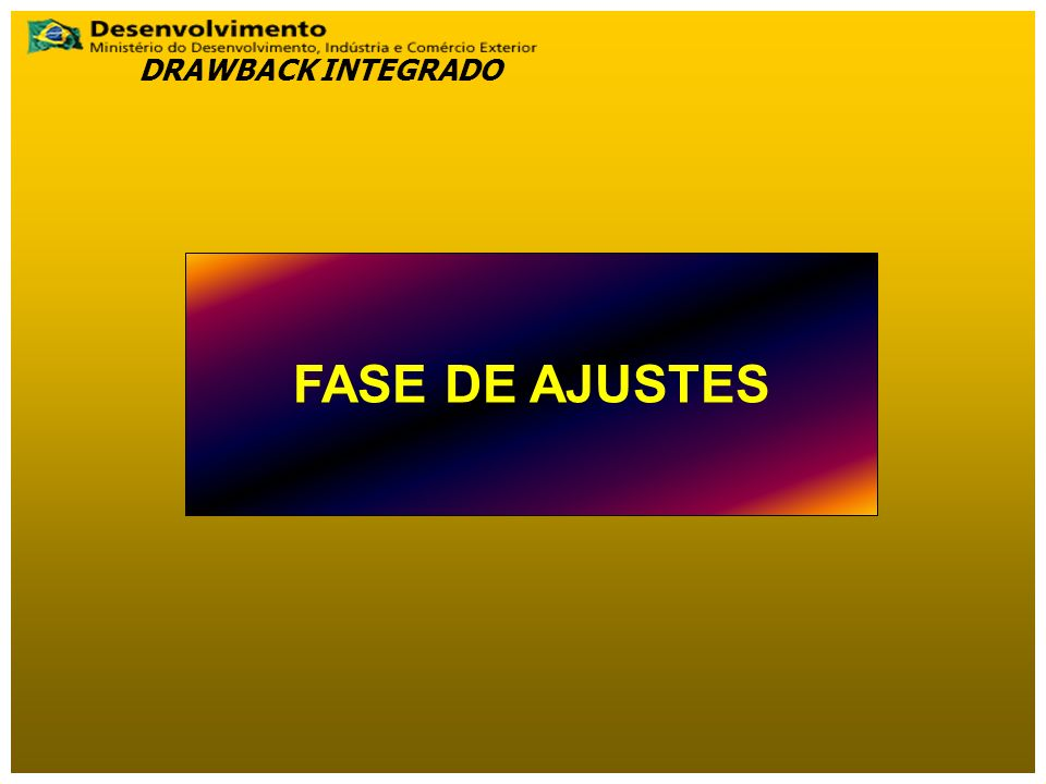 FASE DE AJUSTES DRAWBACK INTEGRADO