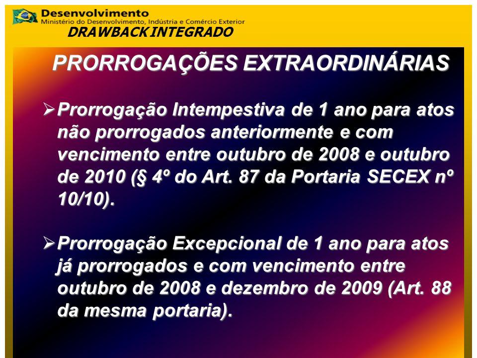 PRORROGAÇÕES EXTRAORDINÁRIAS Prorrogação Intempestiva de 1 ano para atos não prorrogados anteriormente e com vencimento entre outubro de 2008 e outubr