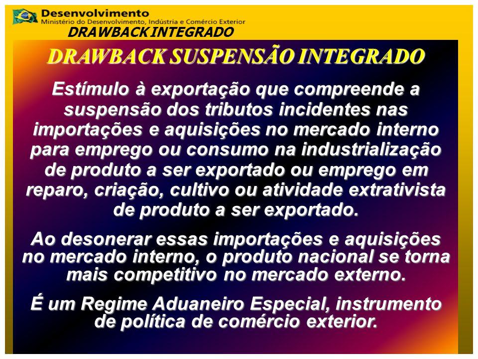 DRAWBACK SUSPENSÃO INTEGRADO Estímulo à exportação que compreende a suspensão dos tributos incidentes nas importações e aquisições no mercado interno