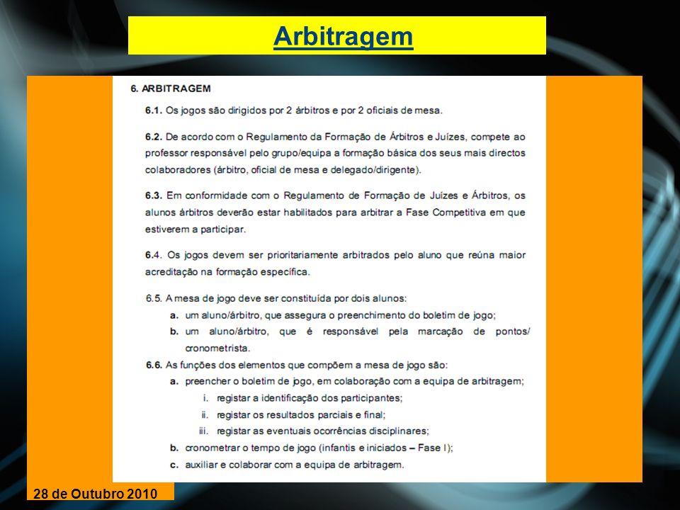 CLASSIFICAÇÃO/CRITÉRIOS DE DESEMPATE 28 de Outubro 2010
