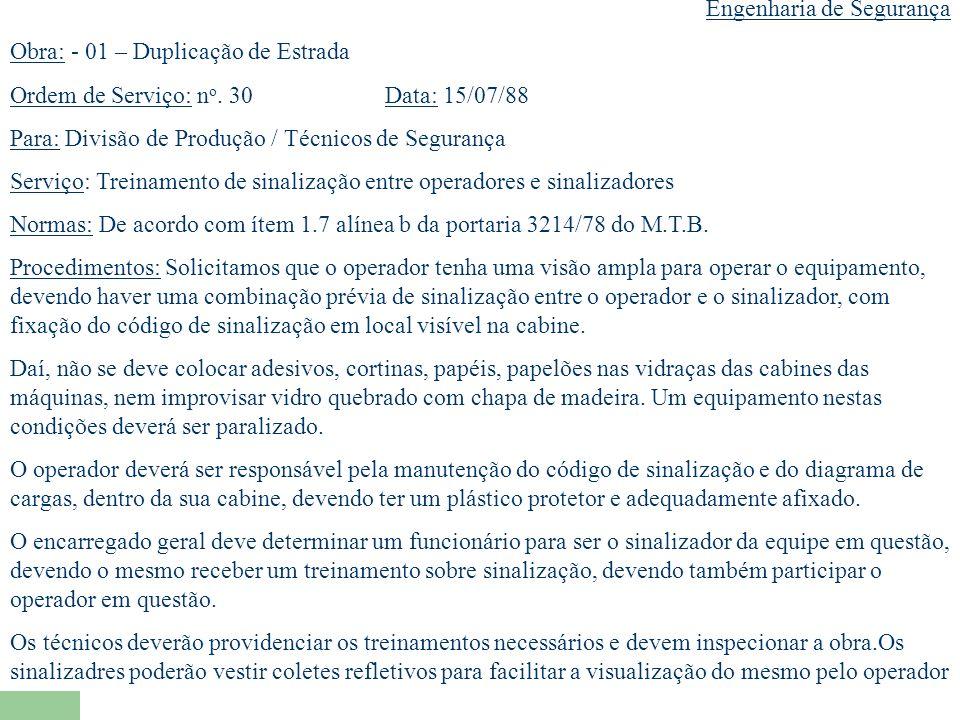 Engenharia de Segurança Obra: - 01 – Duplicação de Estrada Ordem de Serviço: n o.