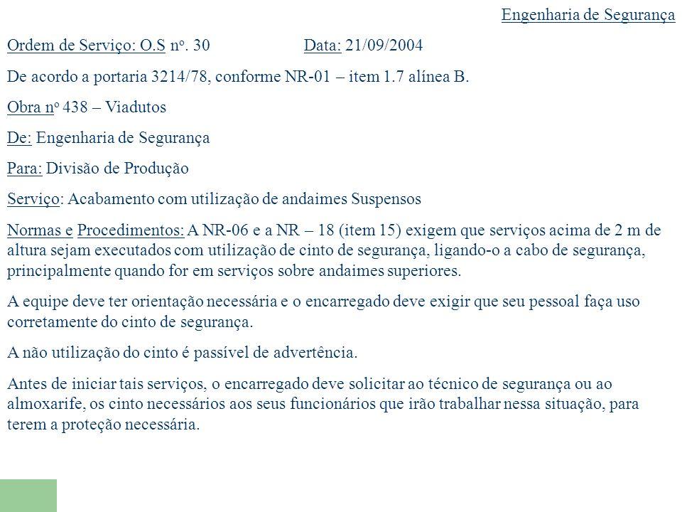 Engenharia de Segurança Ordem de Serviço: O.S n o.
