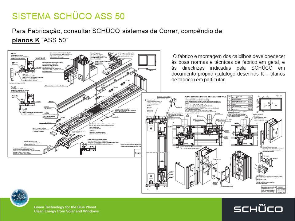 SISTEMA SCHÜCO ASS 50 Para Fabricação, consultar SCHÜCO sistemas de Correr, compêndio de planos K ASS 50 -O fabrico e montagem dos caixilhos deve obed