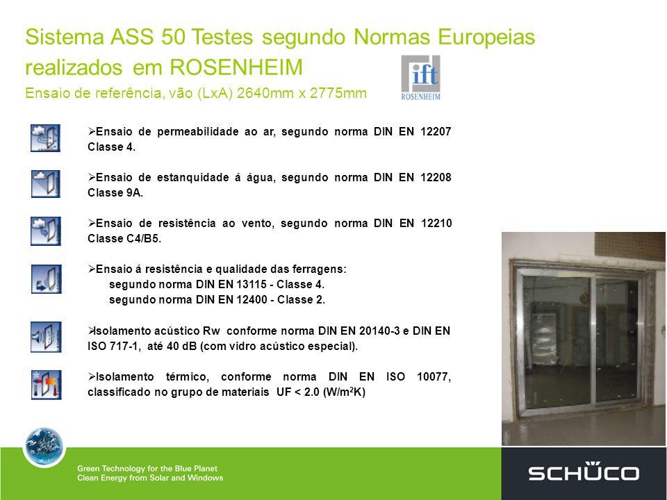Sistema ASS 50 Testes segundo Normas Europeias realizados em ROSENHEIM Ensaio de referência, vão (LxA) 2640mm x 2775mm Ensaio de permeabilidade ao ar,