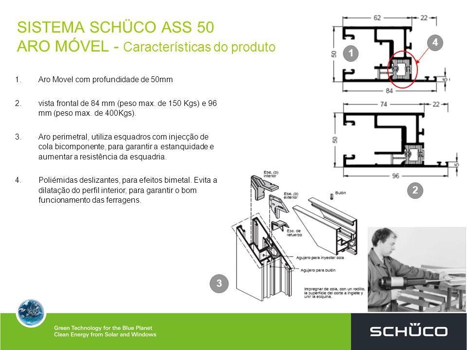 SISTEMA SCHÜCO ASS 50 ARO MÓVEL - Características do produto 1. 1.Aro Movel com profundidade de 50mm 2. 2.vista frontal de 84 mm (peso max. de 150 Kgs