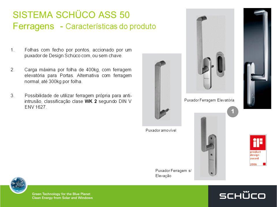 SISTEMA SCHÜCO ASS 50 Ferragens - Características do produto 1. 1.Folhas com fecho por pontos, accionado por um puxador de Design Schüco com, ou sem c