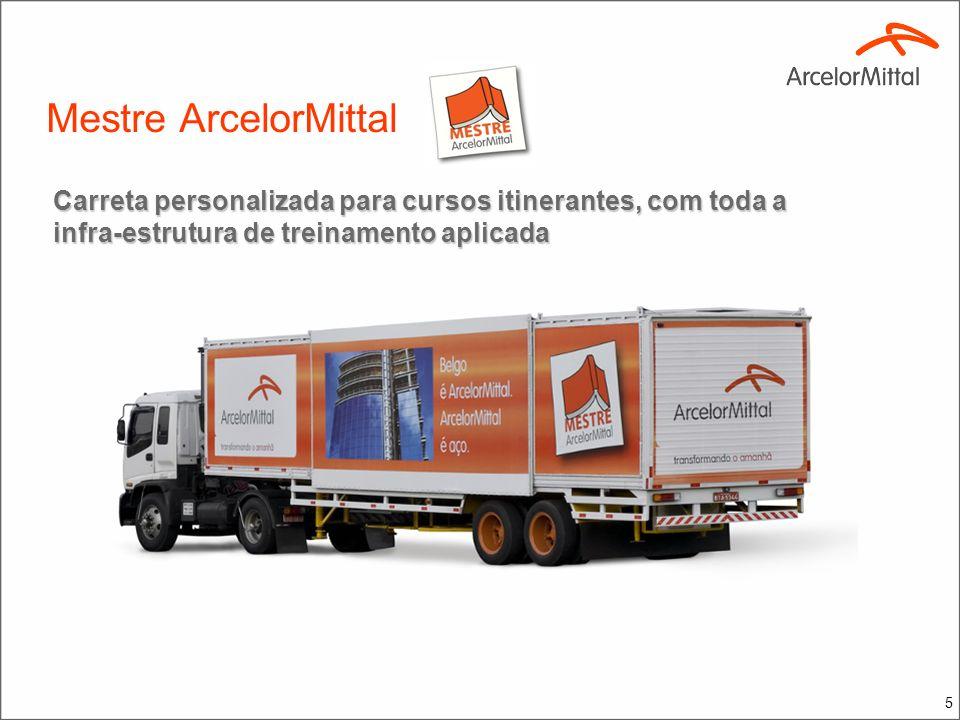 5 Carreta personalizada para cursos itinerantes, com toda a infra-estrutura de treinamento aplicada Mestre ArcelorMittal