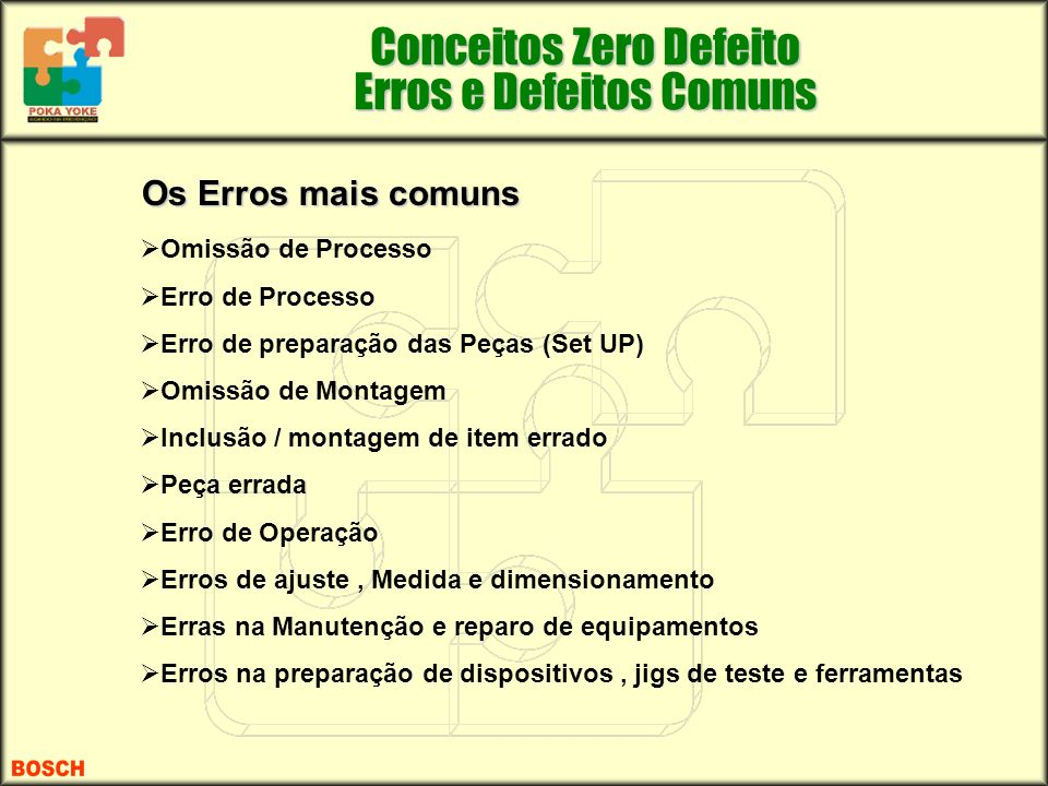 Os Erros mais comuns Omissão de Processo Erro de Processo Erro de preparação das Peças (Set UP) Omissão de Montagem Inclusão / montagem de item errado