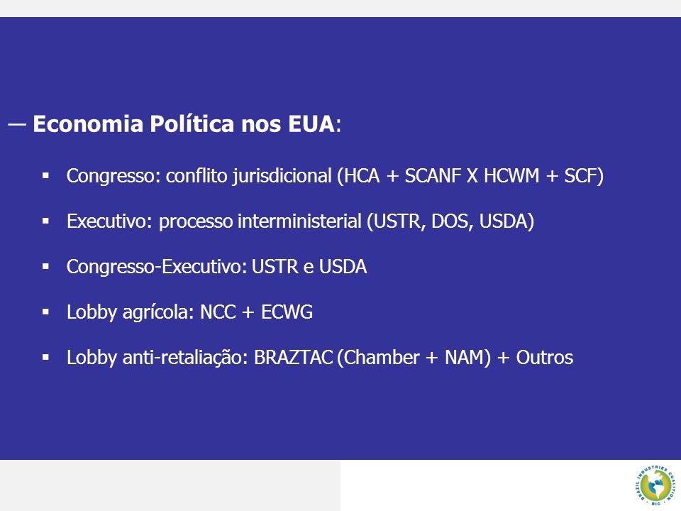 Economia Política nos EUA: Congresso: conflito jurisdicional (HCA + SCANF X HCWM + SCF) Executivo: processo interministerial (USTR, DOS, USDA) Congres