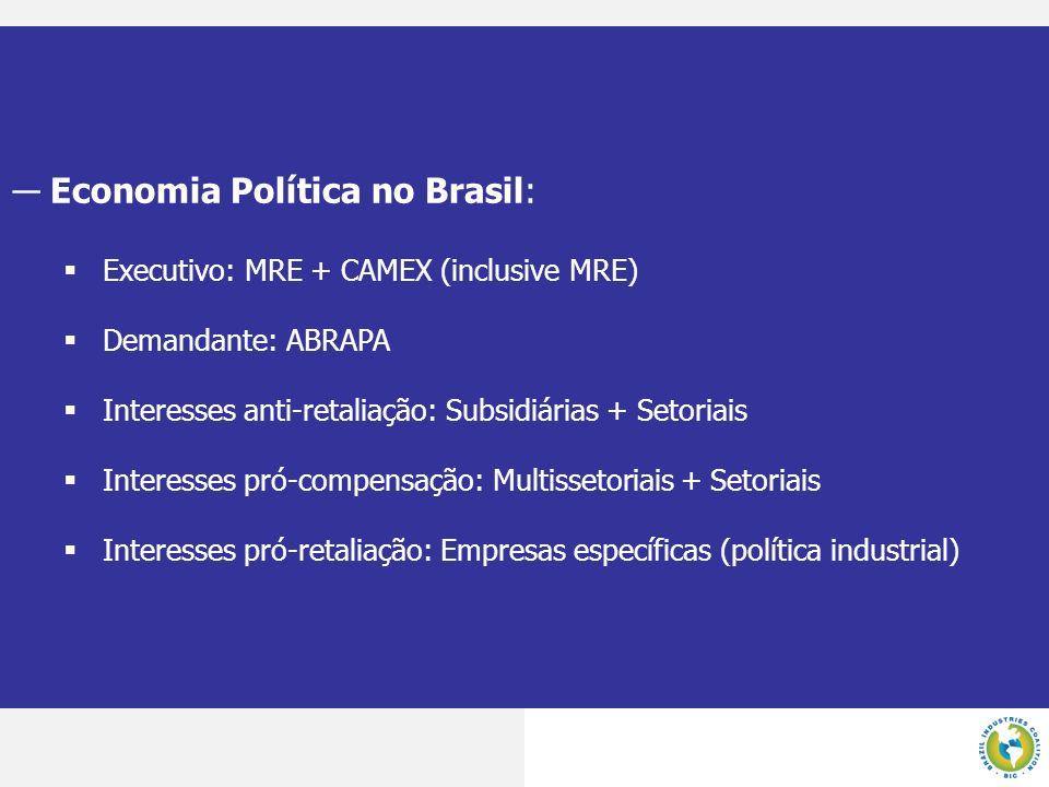 Economia Política no Brasil: Executivo: MRE + CAMEX (inclusive MRE) Demandante: ABRAPA Interesses anti-retaliação: Subsidiárias + Setoriais Interesses