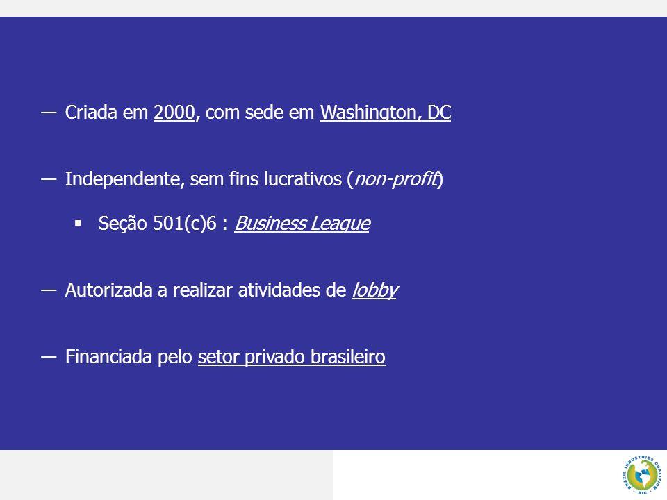 Criada em 2000, com sede em Washington, DC Independente, sem fins lucrativos (non-profit) Seção 501(c)6 : Business League Autorizada a realizar ativid