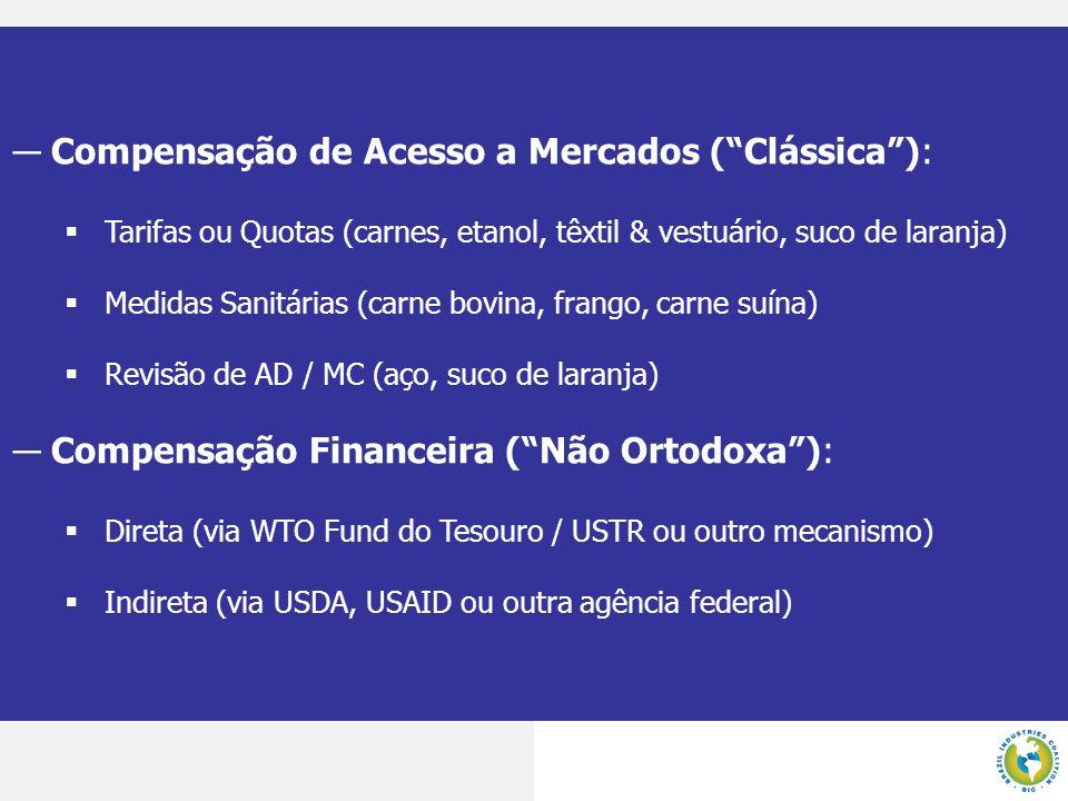 Compensação de Acesso a Mercados (Clássica): Tarifas ou Quotas (carnes, etanol, têxtil & vestuário, suco de laranja) Medidas Sanitárias (carne bovina,