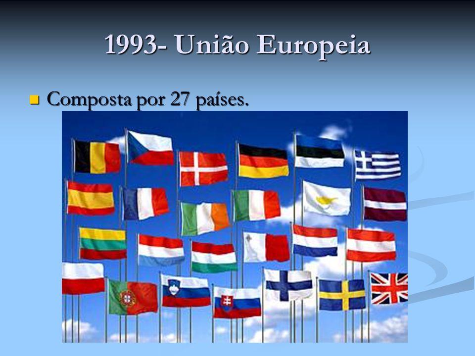 1993- União Europeia Composta por 27 países. Composta por 27 países.