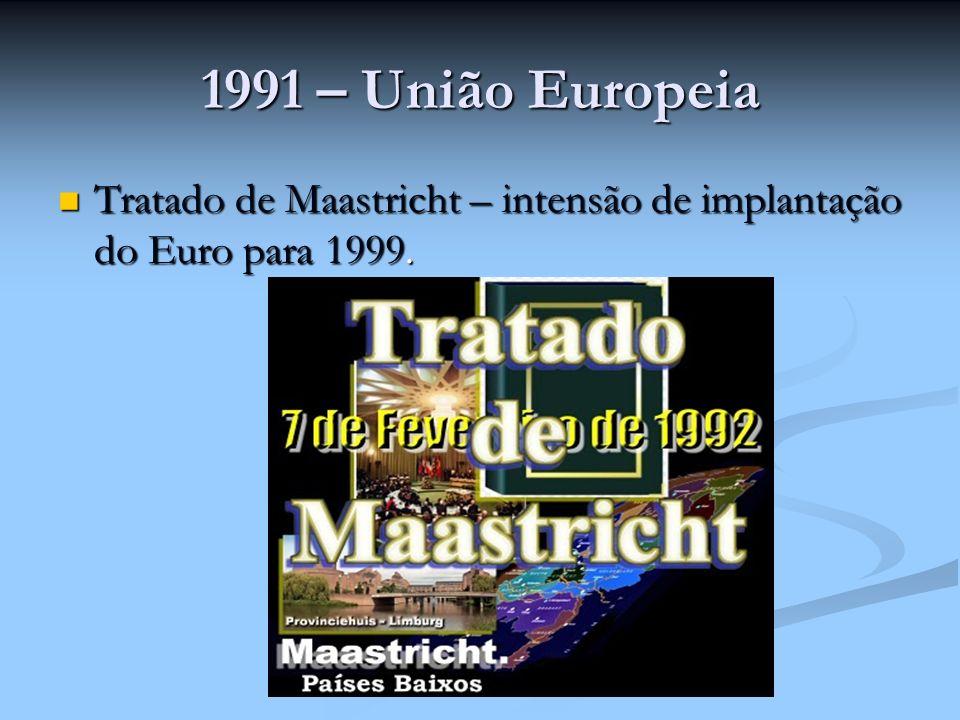 1991 – União Europeia Tratado de Maastricht – intensão de implantação do Euro para 1999. Tratado de Maastricht – intensão de implantação do Euro para