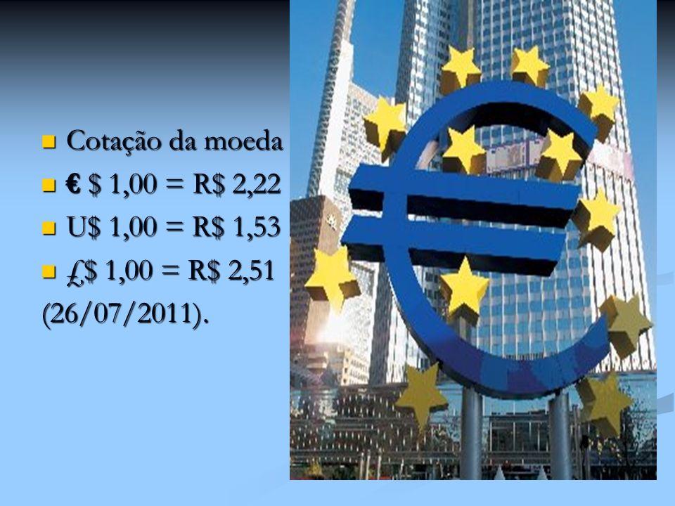 Cotação da moeda Cotação da moeda $ 1,00 = R$ 2,22 $ 1,00 = R$ 2,22 U$ 1,00 = R$ 1,53 U$ 1,00 = R$ 1,53 £$ 1,00 = R$ 2,51 £$ 1,00 = R$ 2,51(26/07/2011