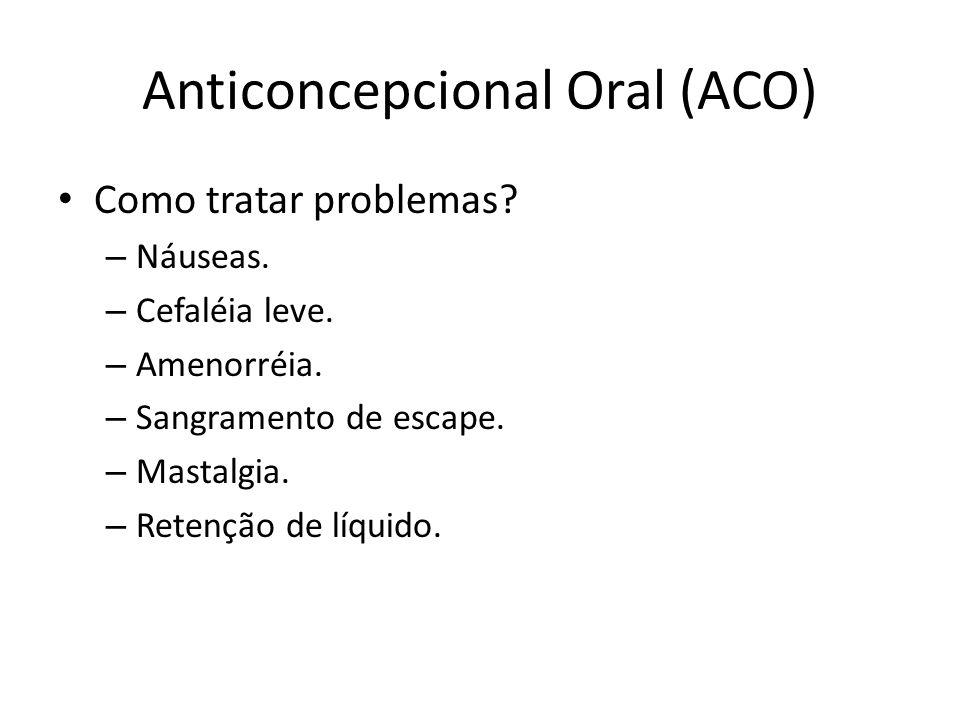Anticoncepcional Oral (ACO) Como tratar problemas.