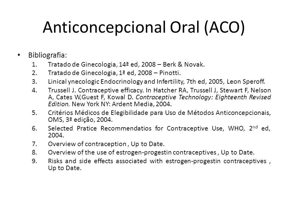 Anticoncepcional Oral (ACO) Bibliografia: 1.Tratado de Ginecologia, 14ª ed, 2008 – Berk & Novak.