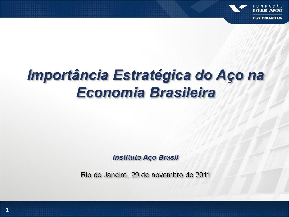 1 Importância Estratégica do Aço na Economia Brasileira Instituto Aço Brasil Rio de Janeiro, 29 de novembro de 2011 Importância Estratégica do Aço na