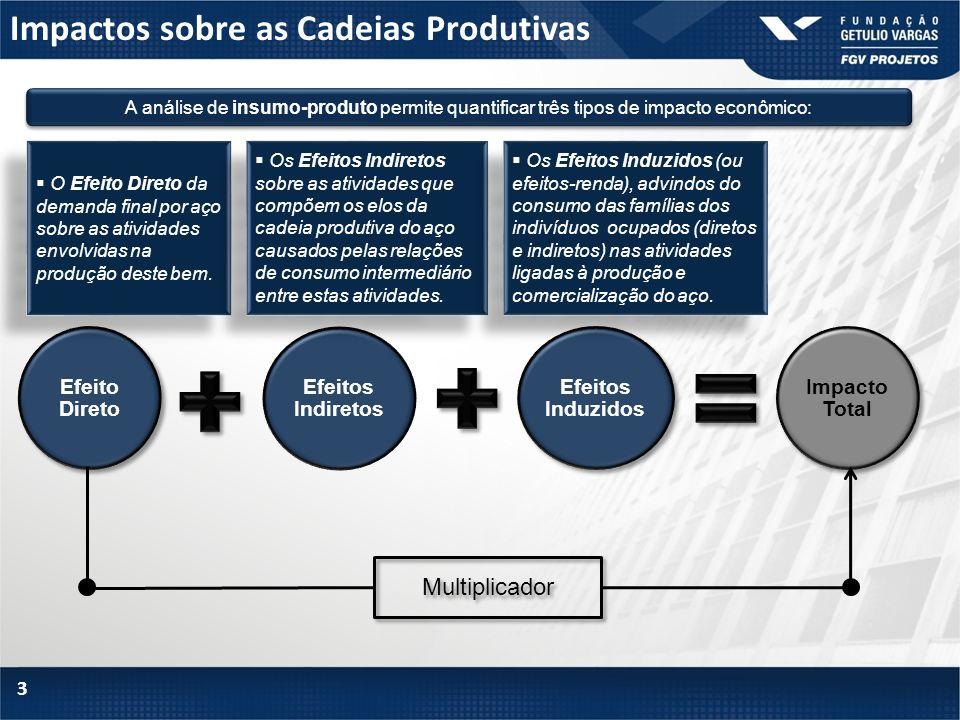 Impactos sobre as Cadeias Produtivas 3 A análise de insumo-produto permite quantificar três tipos de impacto econômico: Efeito Direto Efeitos Indireto