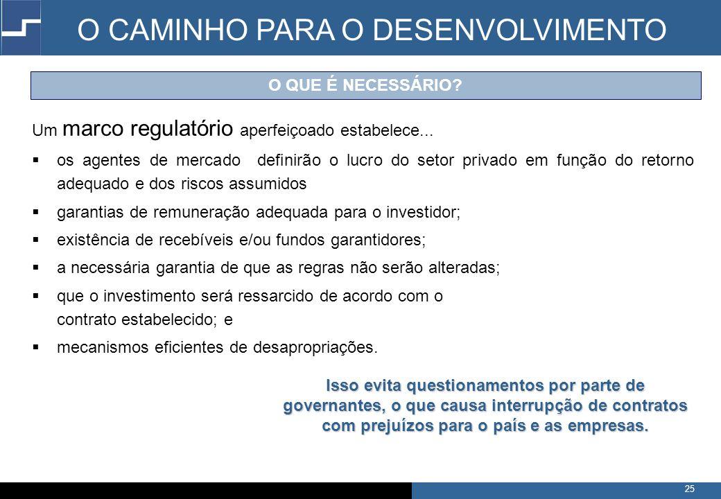 25 O QUE É NECESSÁRIO.Um marco regulatório aperfeiçoado estabelece...