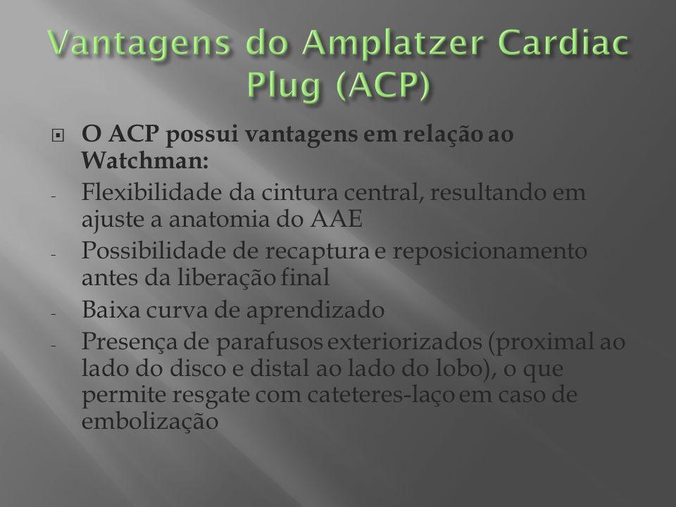 O ACP possui vantagens em relação ao Watchman: - Flexibilidade da cintura central, resultando em ajuste a anatomia do AAE - Possibilidade de recaptura
